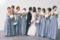 Slate blue maxi dresses for bridesmaids | Wedding ...