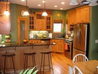 Honey Oak Kitchen Cabinets with Black Countertops and ...