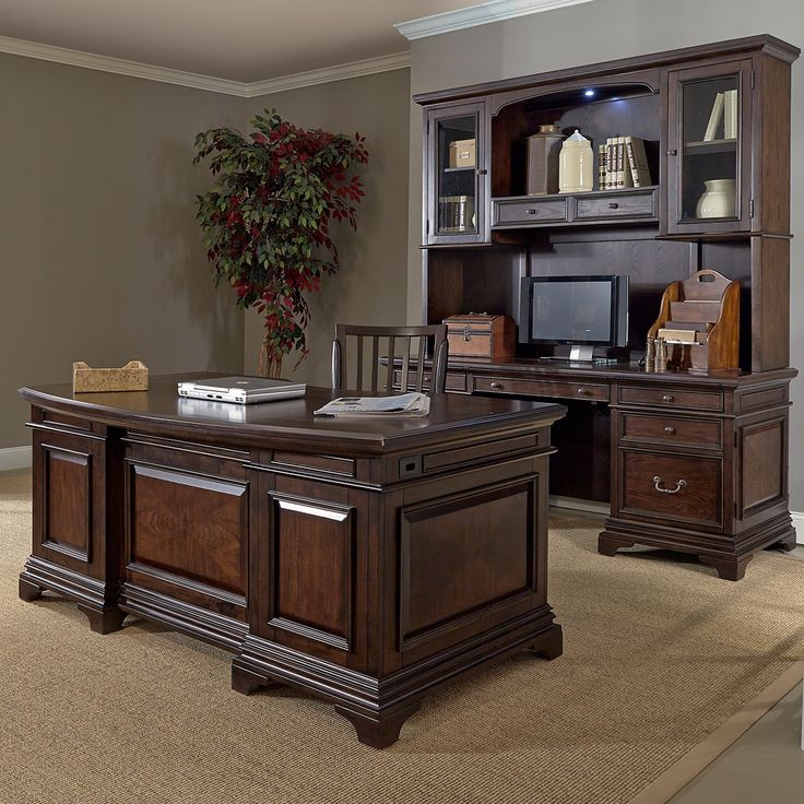 Drake 72inch Executive Desk and Credenza with Hutch by