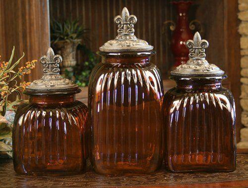 AMBER DECORATIVE GLASS CANISTER SET WITH FLEUR DE LIS LIDS