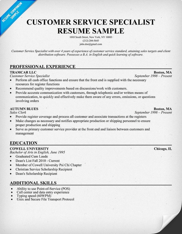 Customer Service Specialist Resume Resumecompanion Com
