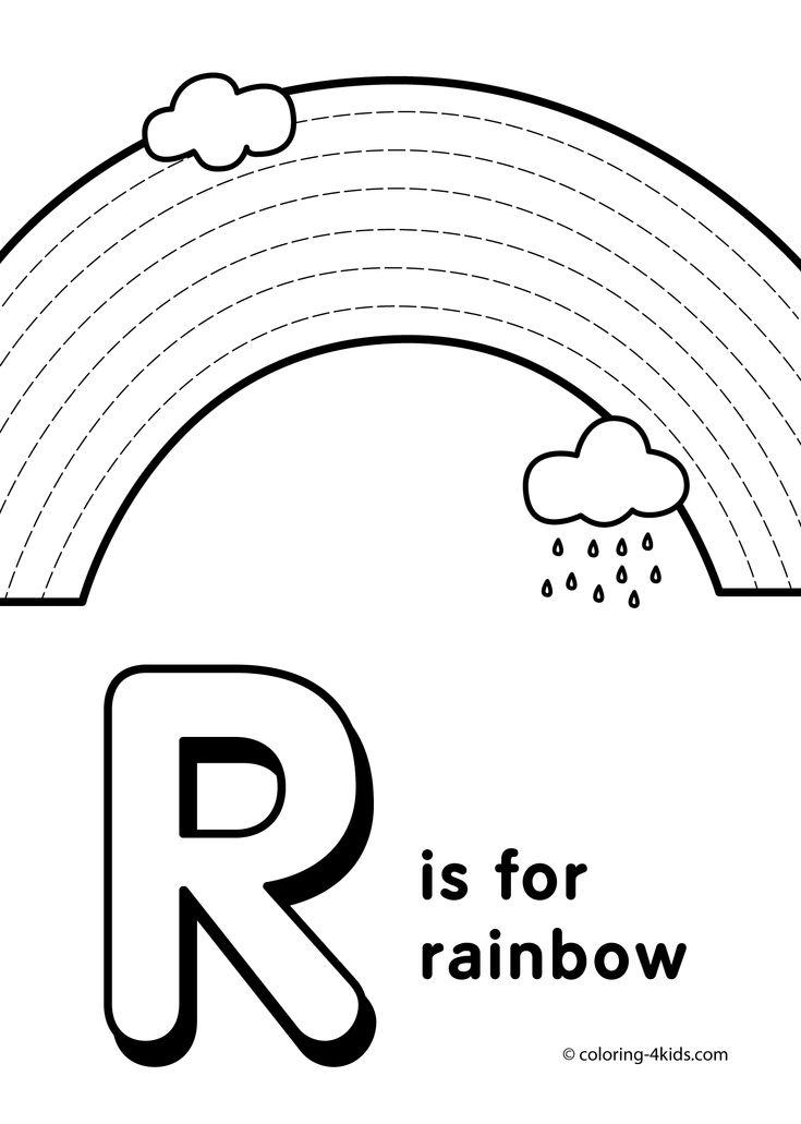 Letter R coloring pages, alphabet coloring pages (R letter