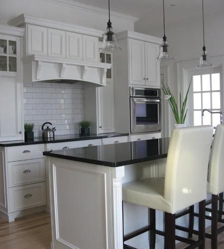 Thomasville Kenston Cabinets White Dark Countertop
