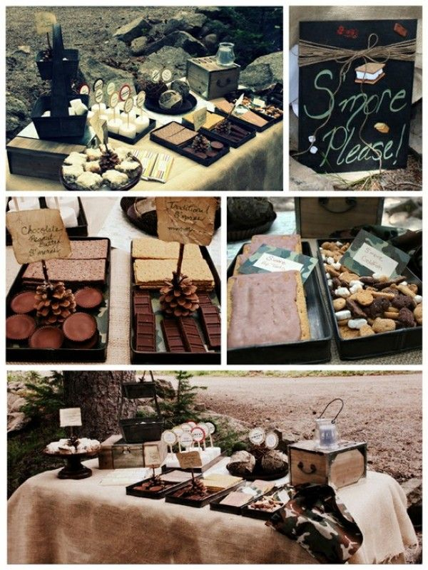 bonfire party Smore bar  Wedding Finger Food Ideas  Pinterest  Receptions Wedding and For the