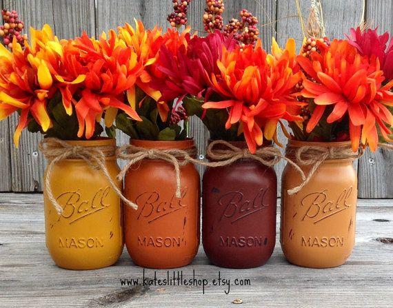 Set of 4 Pint Size Fall Mason Jars. Thanksgiving. Wedding Centerpiece. Rustic Home. Autumn Decor. Country Home Decor. Fall Jars.