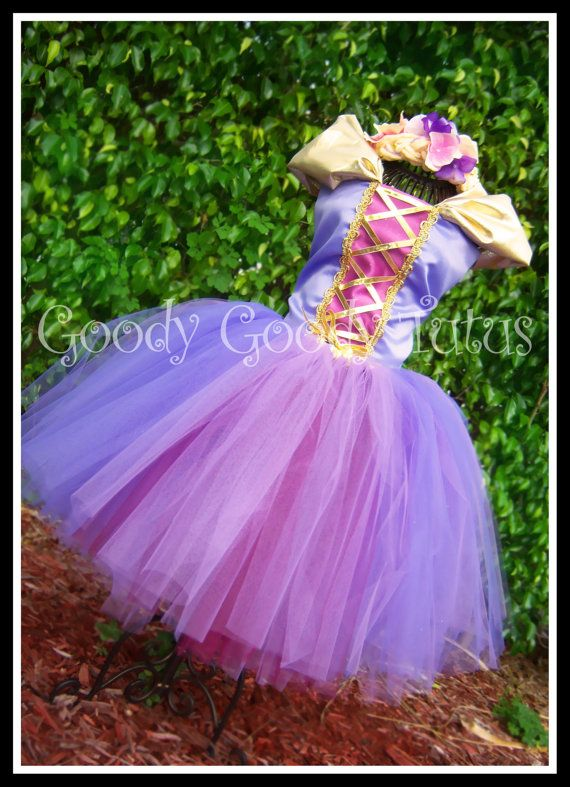 TANGLED IN TULLE Rapunzel Inspired Tutu with Corseted Top and Floral Braided Headband. $135.00, via Etsy.