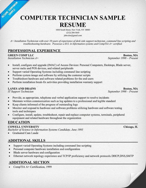 It Technician Resume Examples