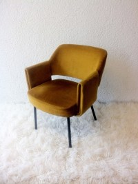 upholstered armchair with original yellow velvet | chairs ...