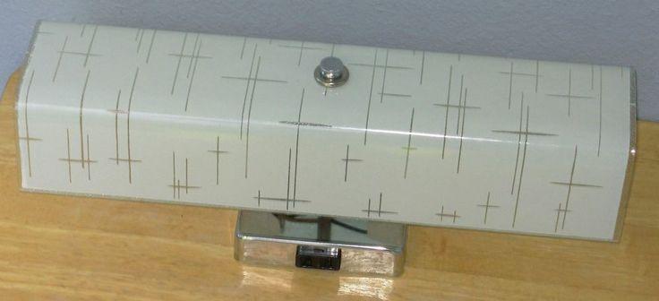 Vintage 1950s bathroom light wall vanity fixture chrome U