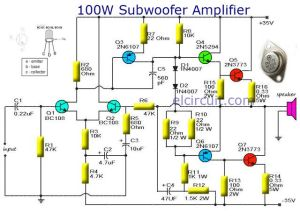 Subwoofer amplifier 100W output with Transistor   Audio Schematic   Pinterest