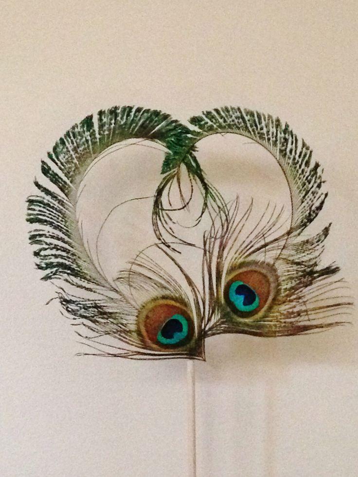 Peacock Feather Heart Cake Topper Peacock Wedding
