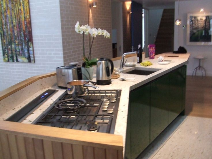view of island with downdraft extractor  flush fit Miele