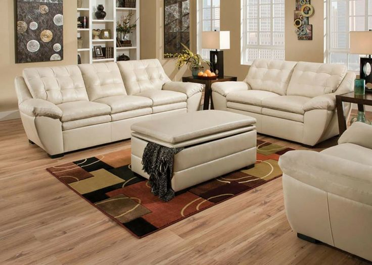 Modern Pearl White Leather Tufted Sofa Couch Loveseat