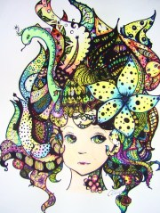 zentangle hair - student work