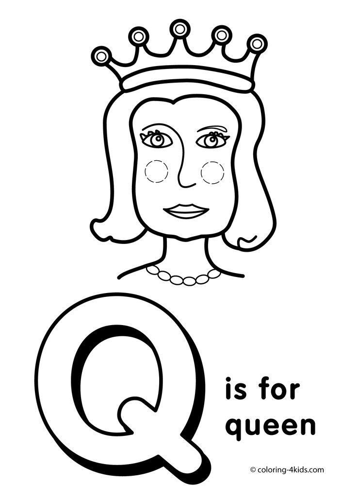 Letter Q coloring pages, alphabet coloring pages (Q letter