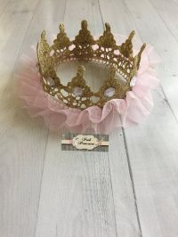 Pink & Gold TuTu Tulle Lace Princess Crown by ...