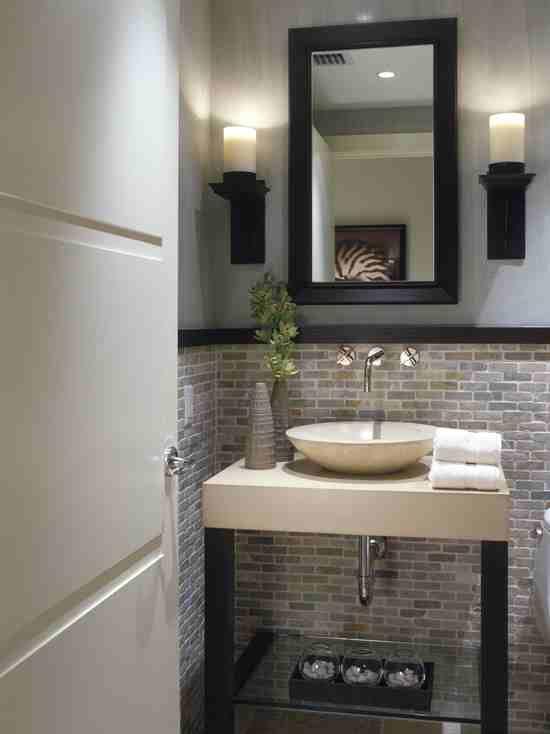 Half bath stone tile on wall  Bathroom ideas  Pinterest