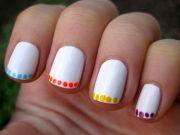 nail art neon polka dot french