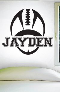 Custom Football Name Wall Decal, 0119, Personalized ...