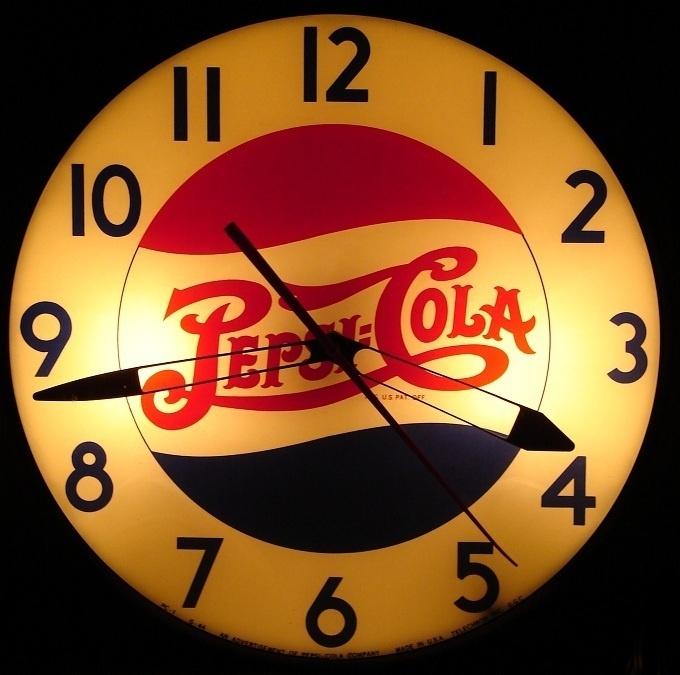 black chair covers ebay white wooden rocking outdoor 40's vintage pepsi cola clock | retro clocks pinterest pepsi, logo and diy pergola