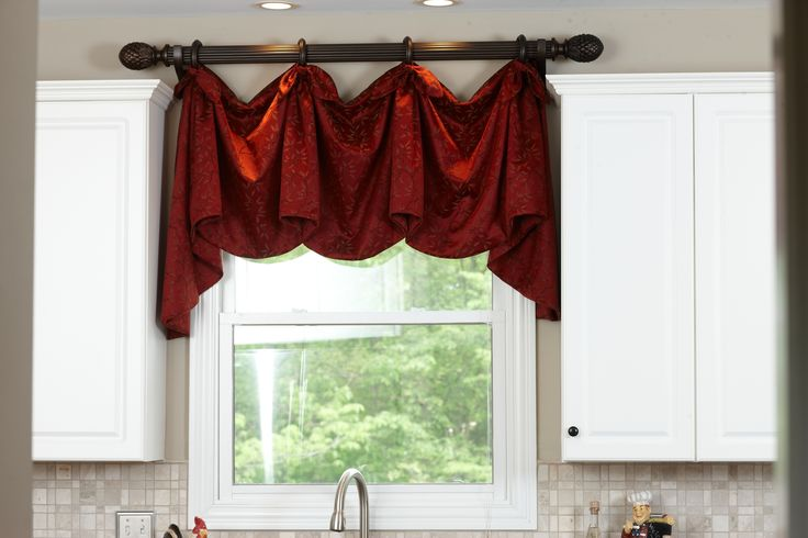 Kitchen Window Treatments above the sink. Decorative Rod