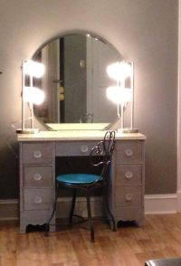 #DIYmakeupvanity. Refinish old desk, 2 lamps from Wal-Mart ...