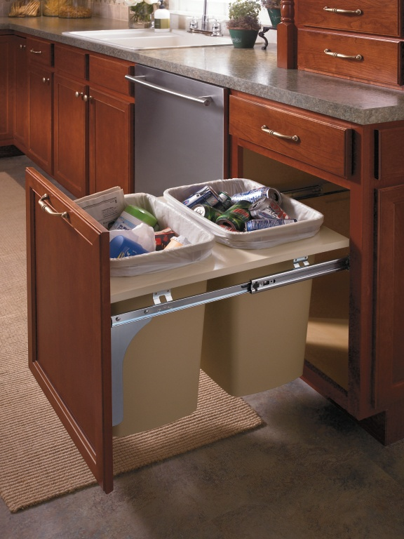 Aristokrafts double wastebasket cabinet keeps trash neatly tucked away  Cabinet Organization