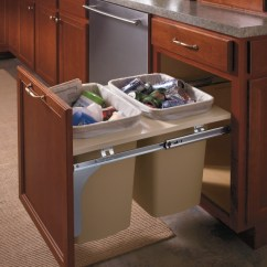 Farm Sink For Kitchen Bar Stools Islands Aristokraft's Double Wastebasket Cabinet Keeps Trash ...