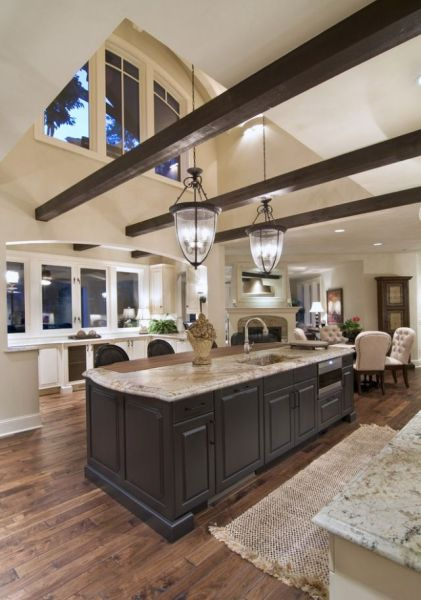 open kitchen with ceiling beams Traditional Kitchen, Beams and Vaulted Ceilings | Home