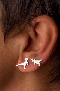 Dinosaur Earrings ONE Sterling Silver Dino Stud Golden ...