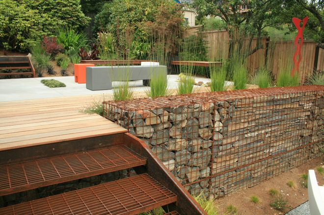 Here Stone-filled Gabions Have Been Used To Create An
