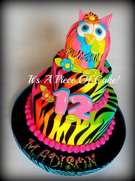 2tier Neon Colored Owl Zebra Print Cake Cakes And
