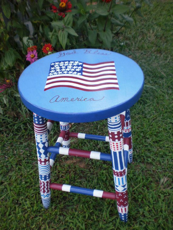 Handpainted Furniture  Whimsical Patriotic Colorful Stool  Hand Painted Stool  Red White Blue