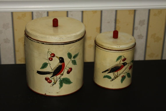 kitchen canister remodel ideas for small maid of honor bird and cherries canisters by ...
