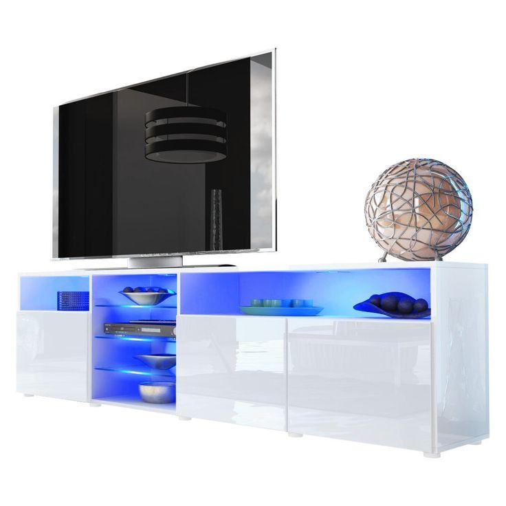 TV Stand Unit Granada V2 in White  White High Gloss