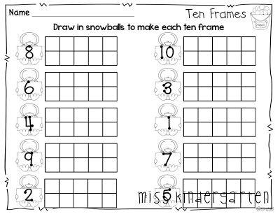 Snowball Ten Frames (from Miss Kindergarten, Winter Print