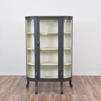 Gray Blue Curved Glass Curio Cabinet | Glass curio ...