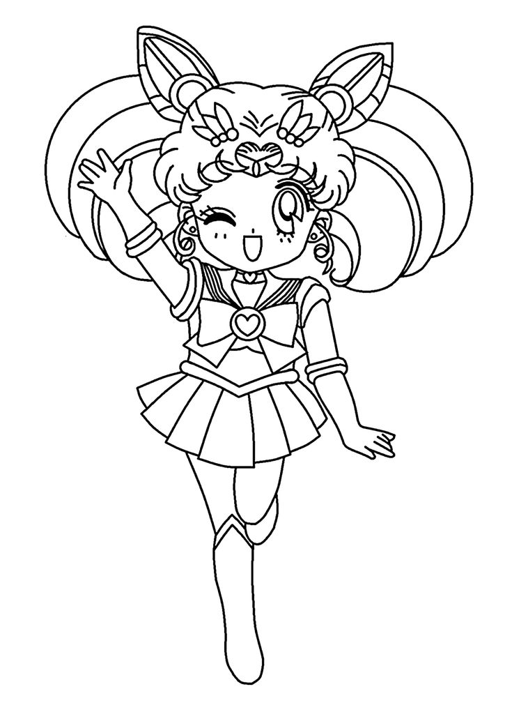 Mini Sailor moon anime coloring pages for kids, printable