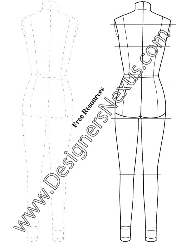 Real Body Proportion Female Fashion Dress Form Template