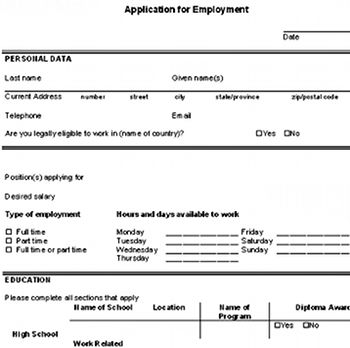 Download A Free Sample Blank Employment Application So You