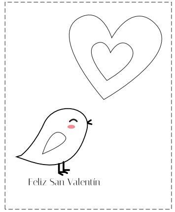 Tarjetas de San Valentín para colorear, las puedes
