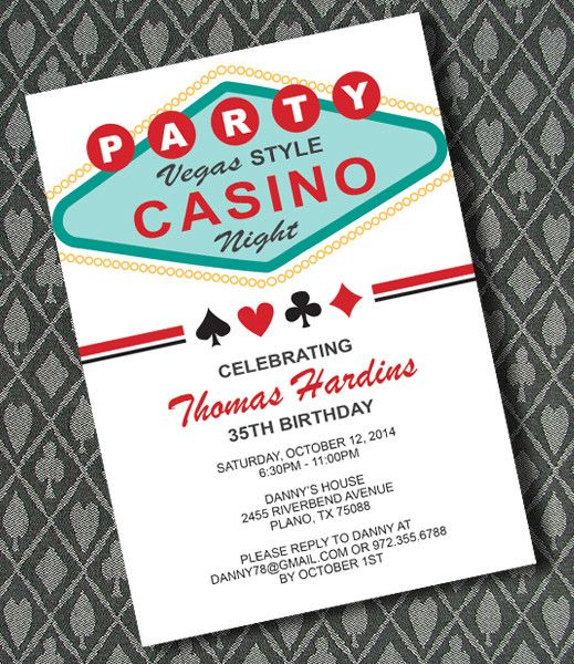 DIY Vegas Casino Night Invitation Template From
