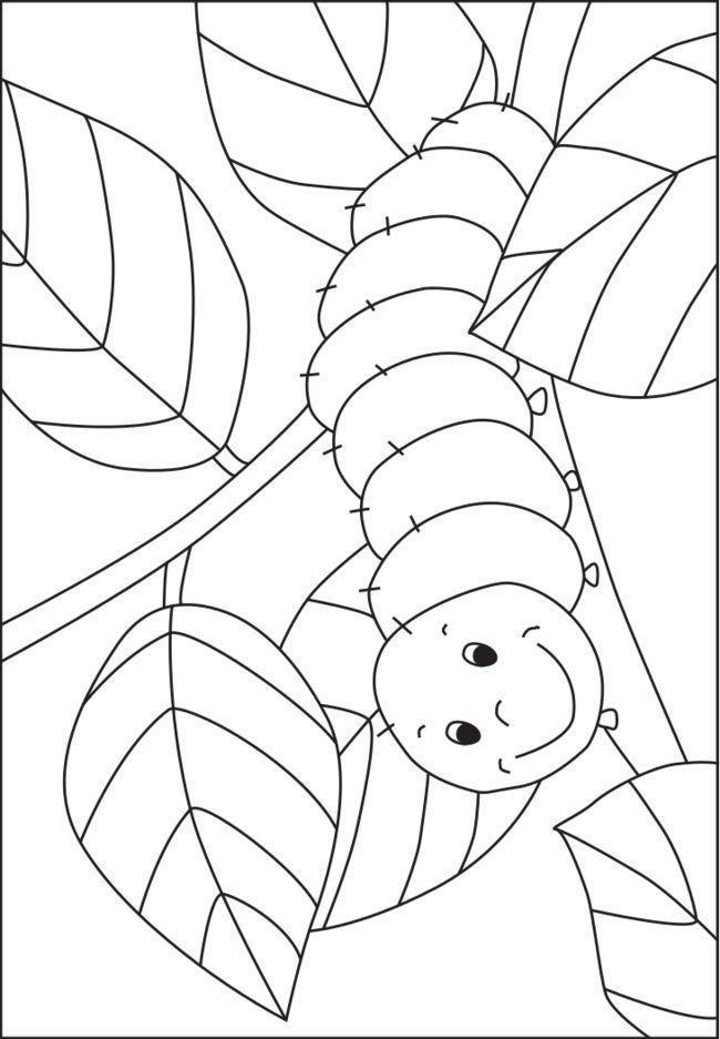 Caterpillar coloring template for pre-K and kindergarten