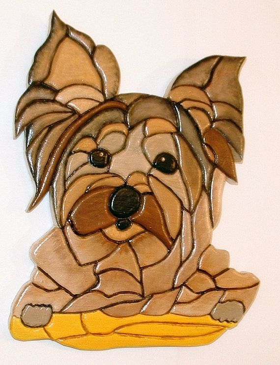 Yorkshire Terrier Intarsia Wood Sculpture Dog Wall