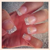 French Tip Acrylic Nails With Glitter | www.imgkid.com ...
