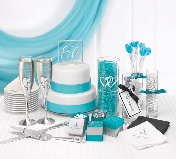 Learn how to coordinate your wedding accessories We combined turquoise and white with a