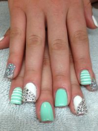 Mint green nails with stripes | Expensive Nails ...