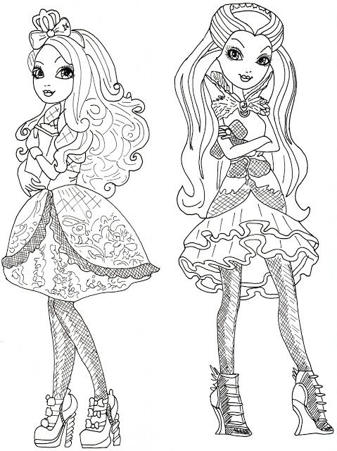Apple White And Raven Queen Free Coloring Page Free