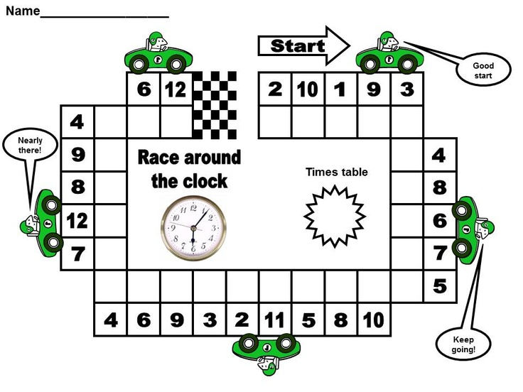 race around the clock times table game from http://www