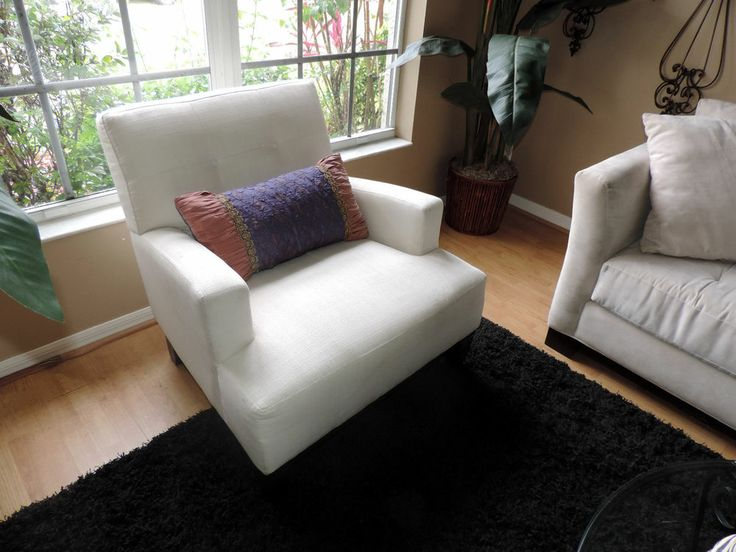 cream colored microfiber sofa small narrow bed tweed accent sitting chair*two available ...